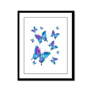 Electric Blue Butterfly Flurry Framed Panel Print